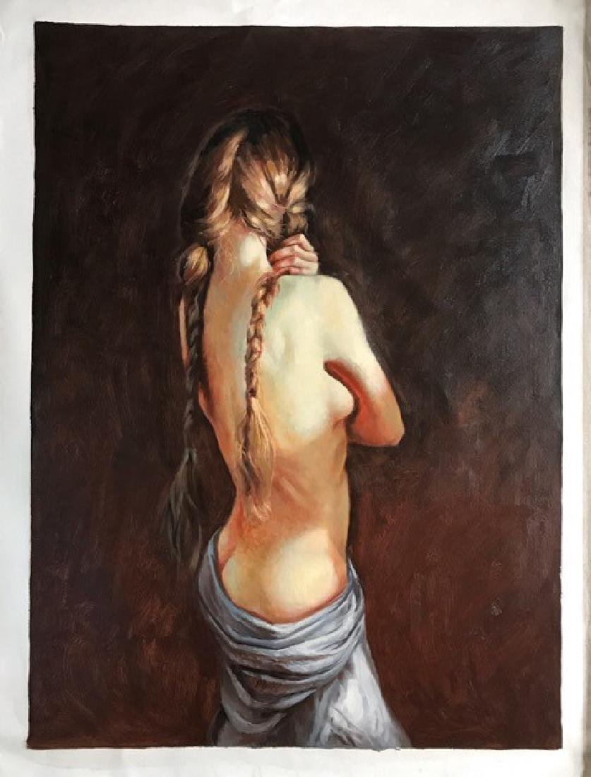 AN OIL PAINTING OF A HALF NAKED WOMEN