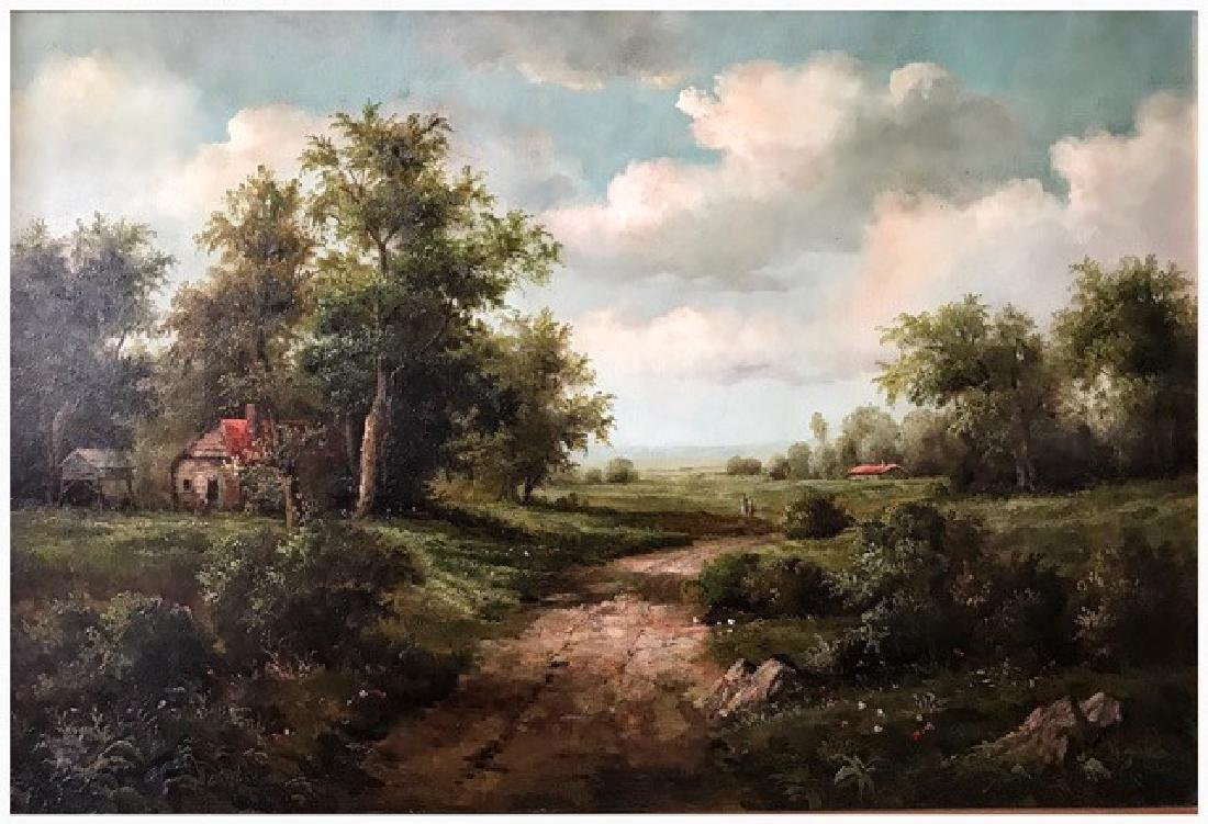 AN OIL PAINTING OF LANDCAPE