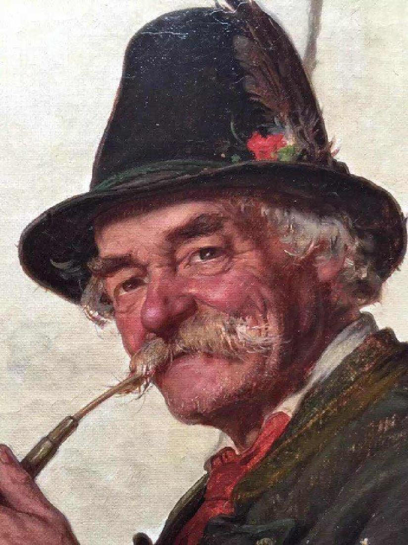 AN OIL PAINTING OF A SMOKING OLD MAN