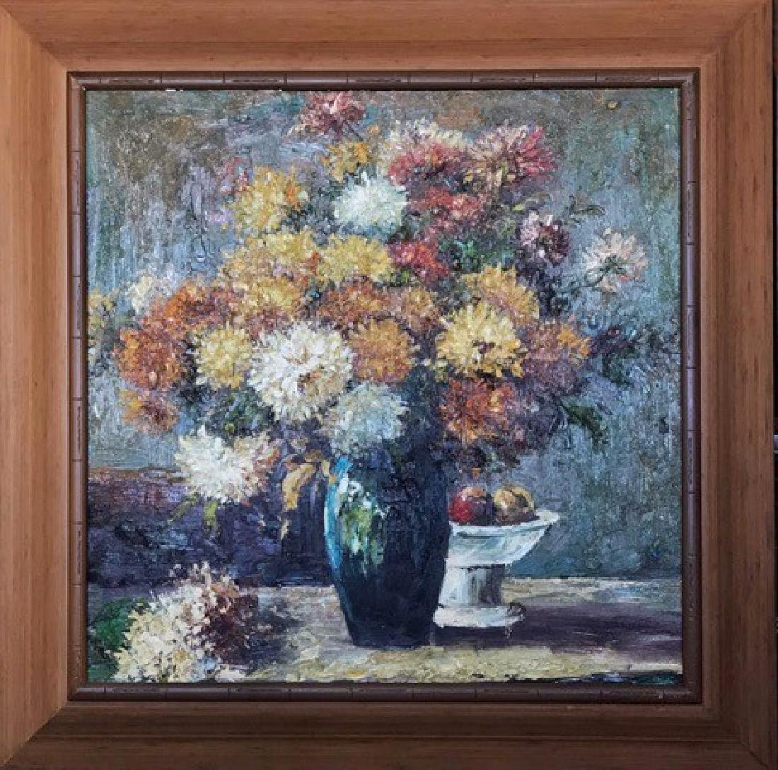 AN OIL PAINTING OF BUNCH FLOWERS ON A VASE