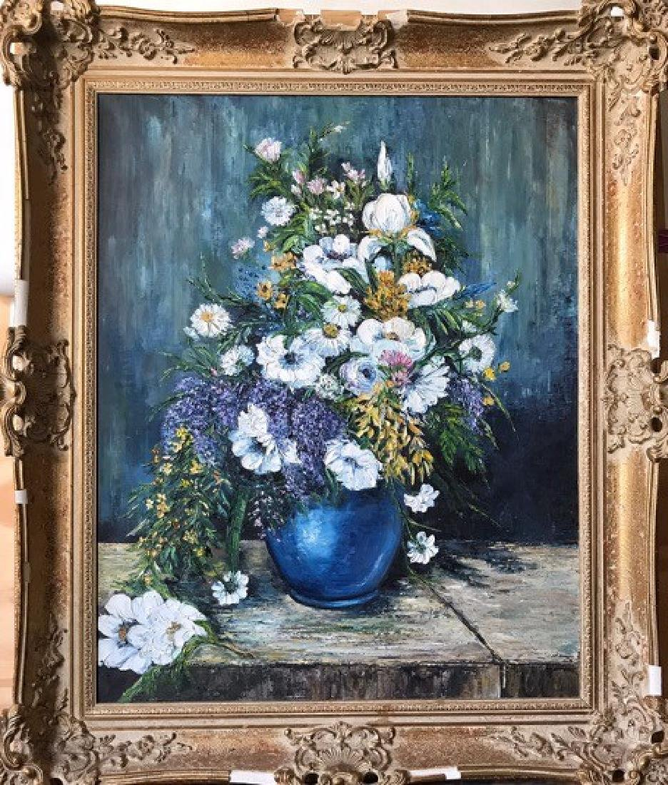 AN OIL PAINTING OF WHITE FLOWER BOUQUET