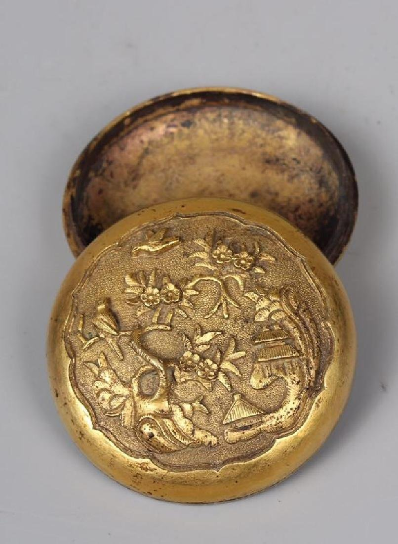 A GILT-BRONZE CARVED MAKE-UP BOX