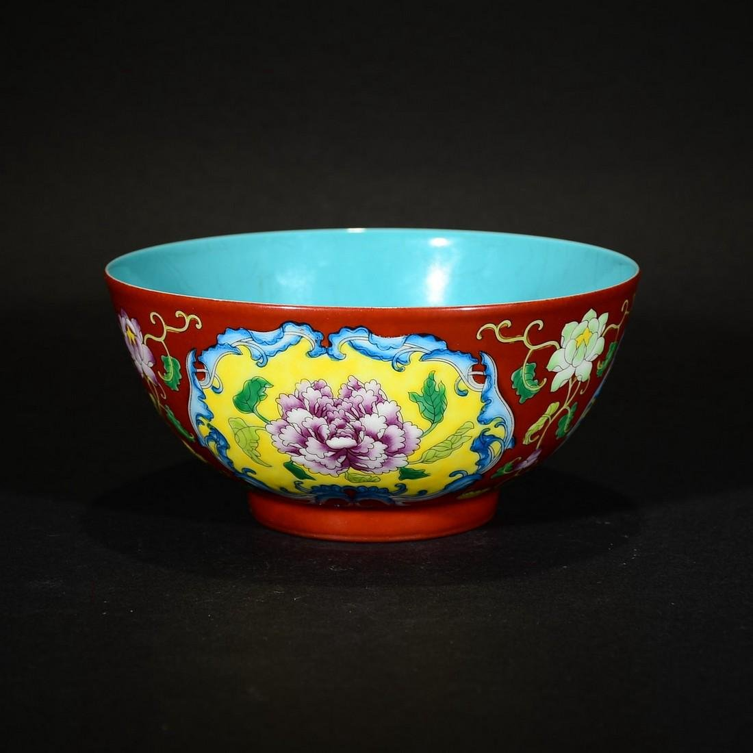A PAINTED ENAMEL AND CORAL-RED-GROUND BOWL, QIANLONG