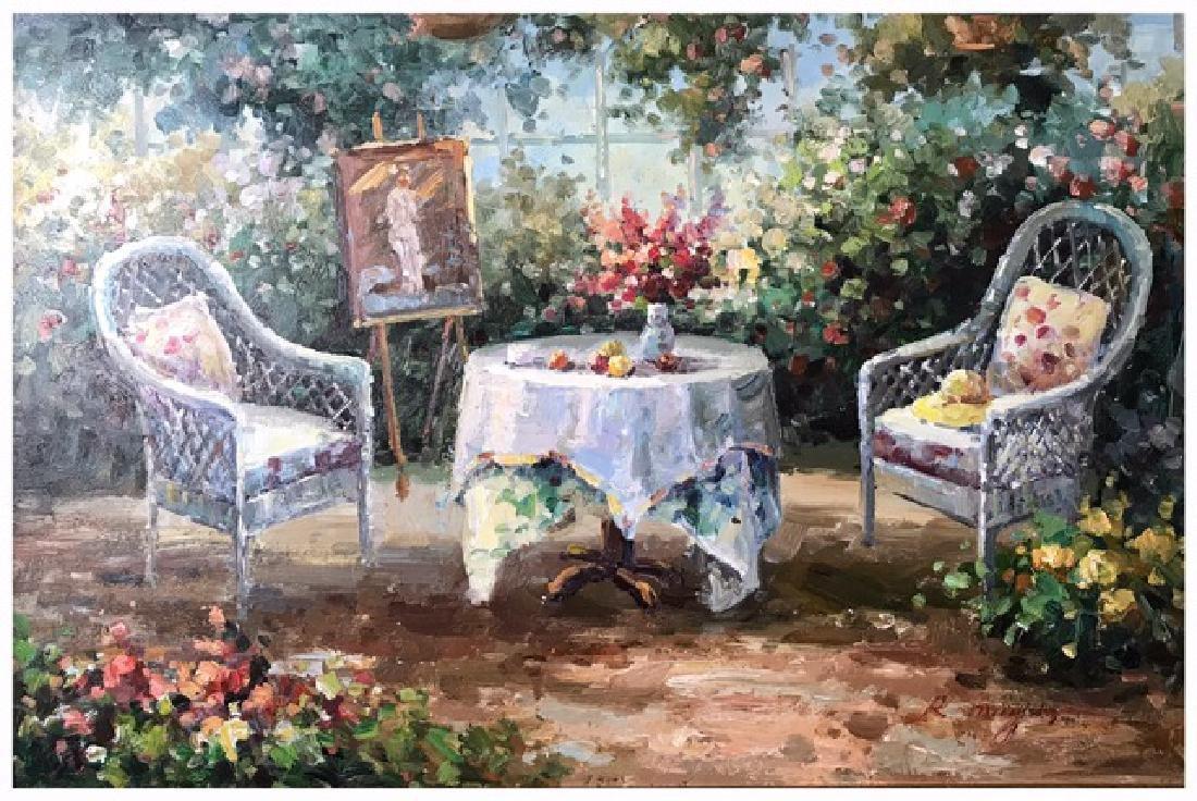 An Oil Painting Of A Garden