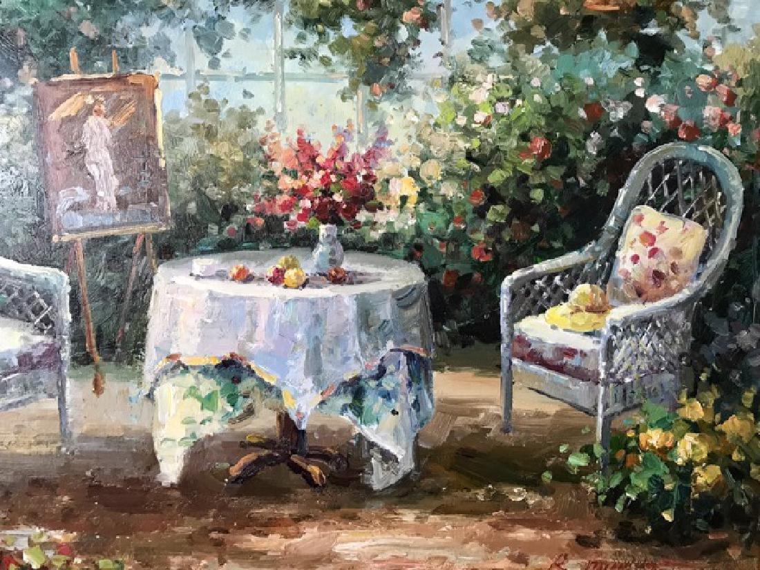An Oil Painting Of A Garden - 4