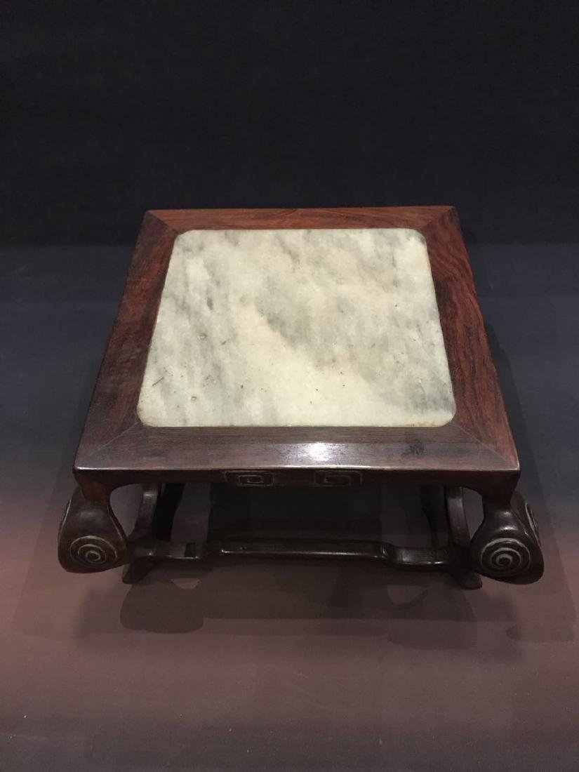A ZITAN INLAID MARBLE TABLE-FORM DISPLAY STAND