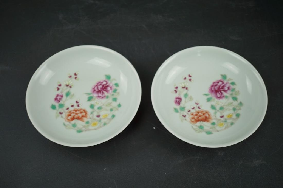 A PAIR OF FAMILLE ROSE DISHES, QIANLONG MARK