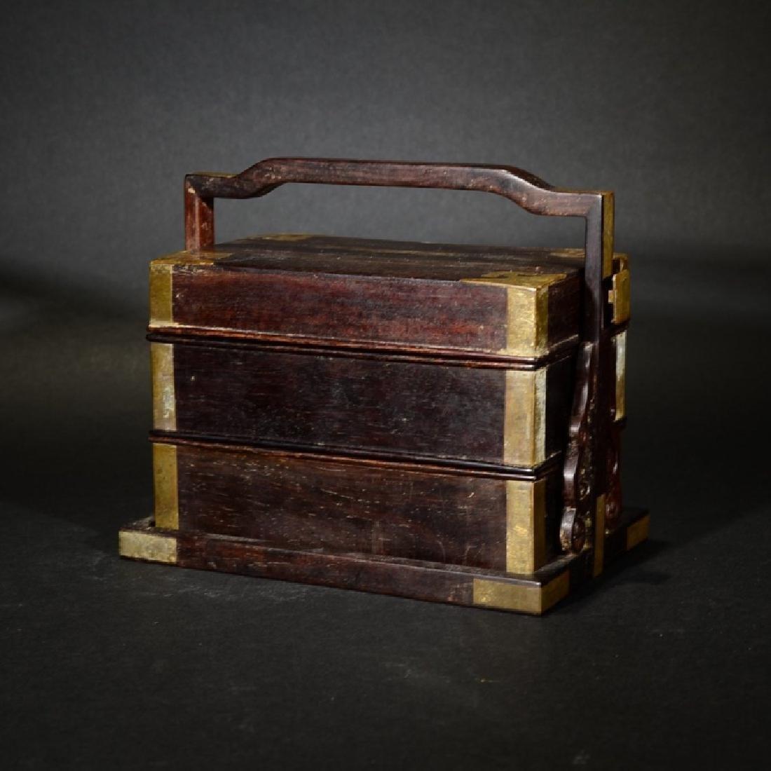 AN ANTIQUE ZITAN THREE-LAYER STACK BOX