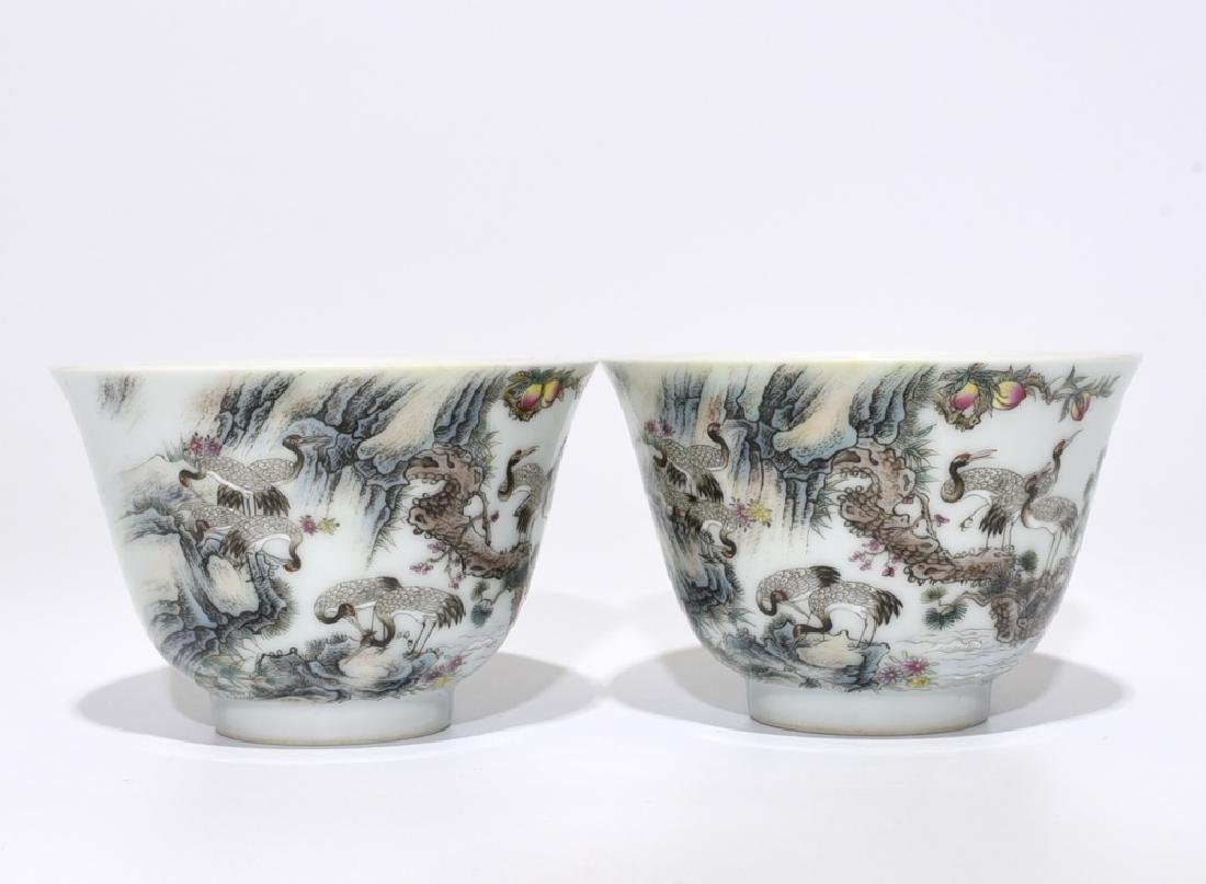 A PAIR OF FAMILLE ROSE INSCRIBE CUPS, YONGZHENG
