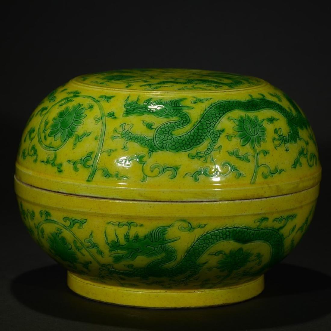 A YELLOW GROUND AND GREEN GLAZE 'DRAGON' BOX