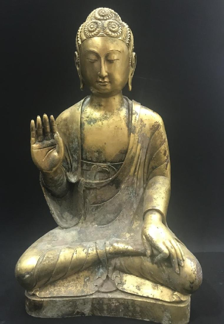 A GITL-BRONZE FIGURE OF BUDDHA