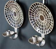PAIR OF MIRRORED PEWTER WALL SCONCES