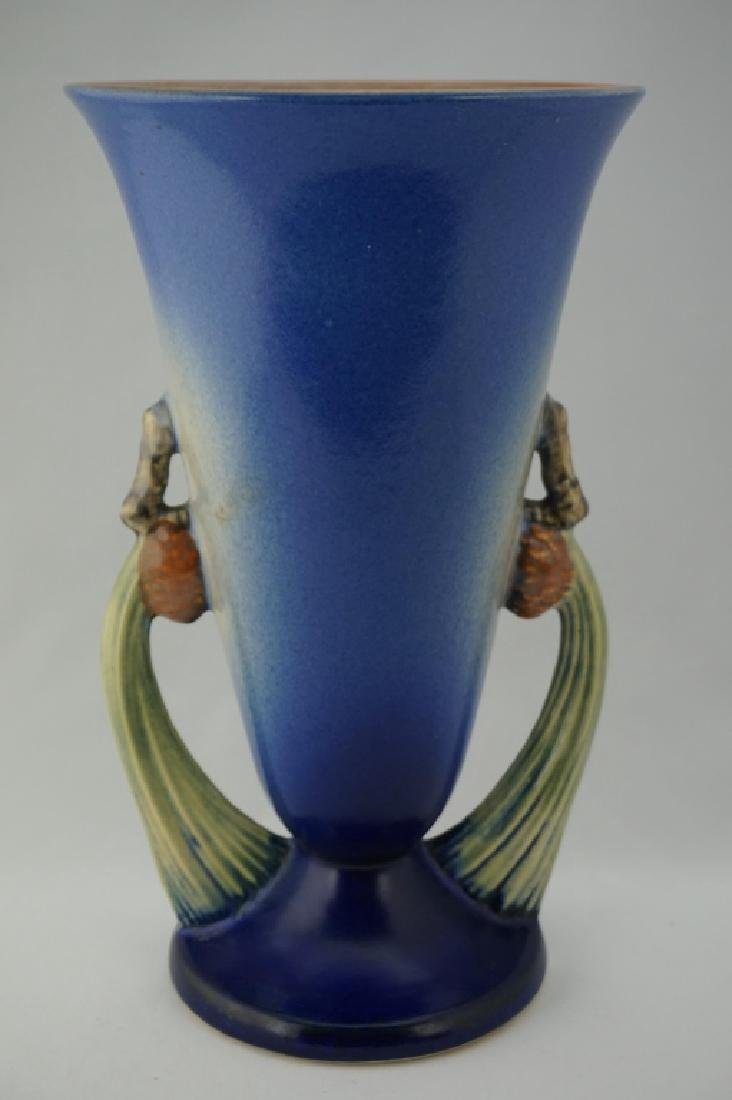 ROSEVILLE POTTERY BLUE PIN CONE VASE - 2