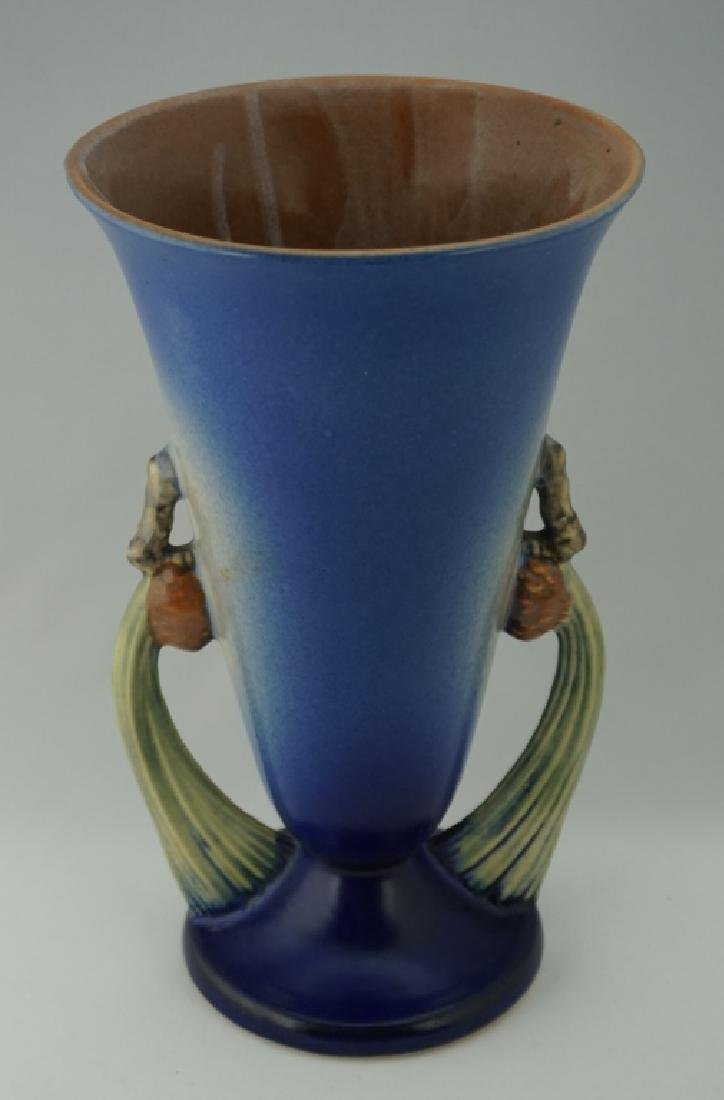 ROSEVILLE POTTERY BLUE PIN CONE VASE - 3