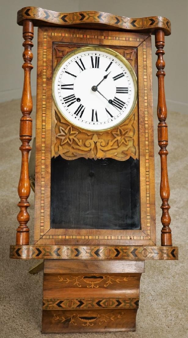 HAND CARVED WOODEN INLAY WALL CLOCK - 3