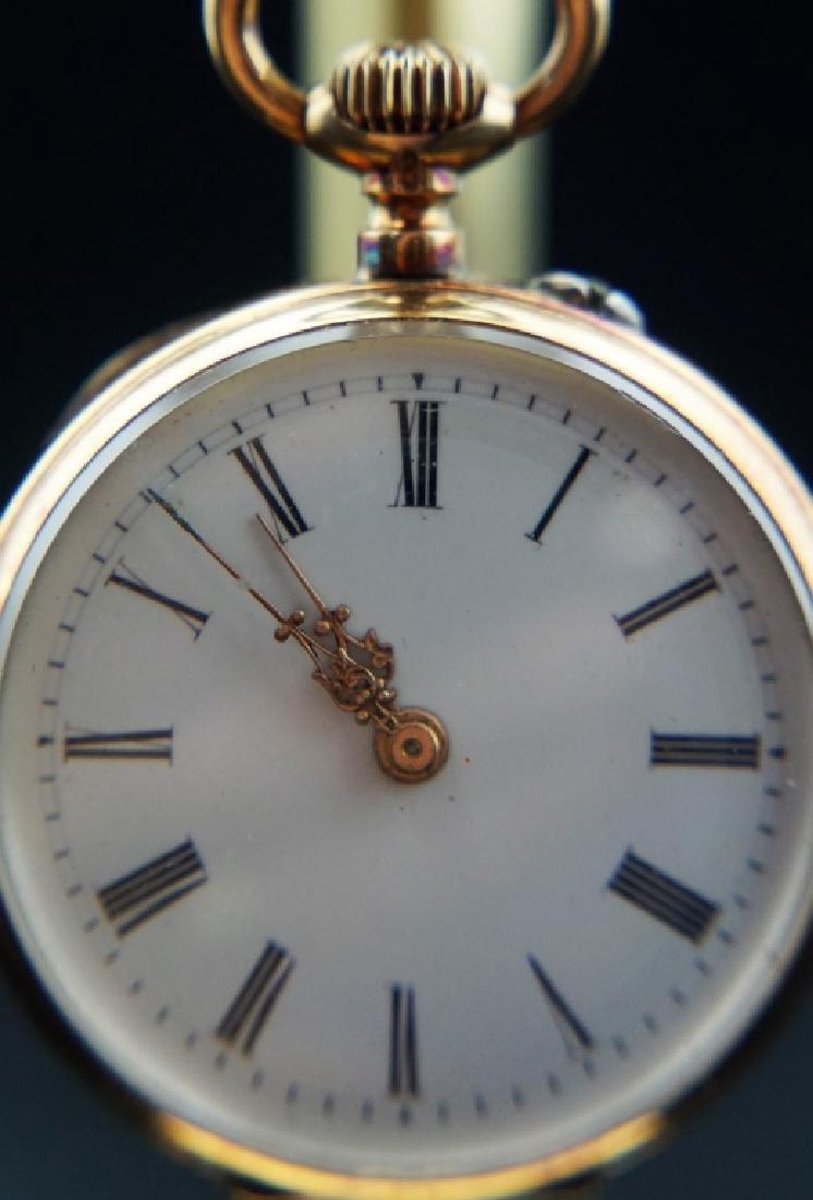 14K GOLD 19th CENTURY WOMEN'S PIN SET POCKET WATCH - 7