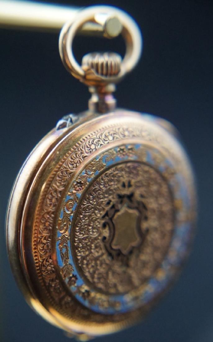 14K GOLD 19th CENTURY WOMEN'S PIN SET POCKET WATCH - 8