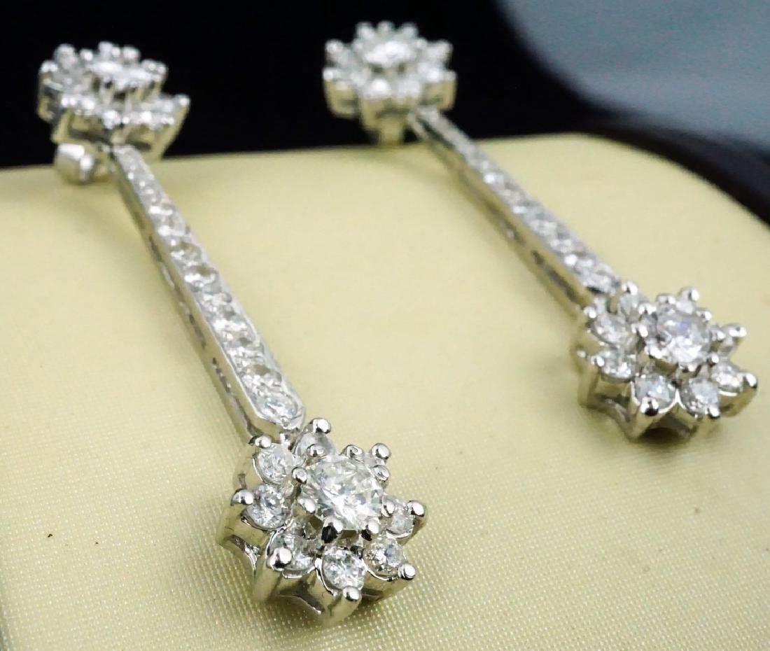 14K GOLD DIAMOND DROP EARRINGS - 3