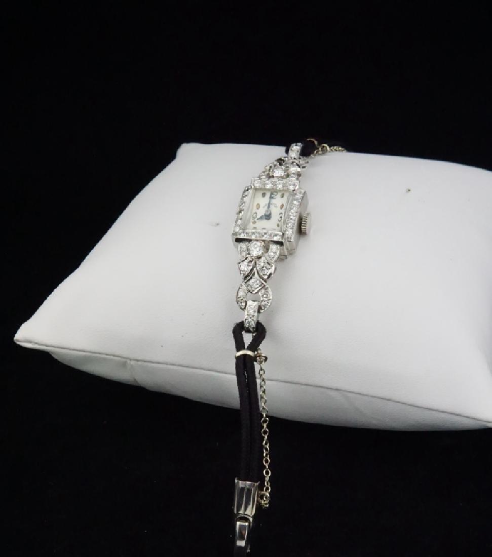 HAMILTON WOMEN'S DIAMOND & PLATINUM WRIST WATCH