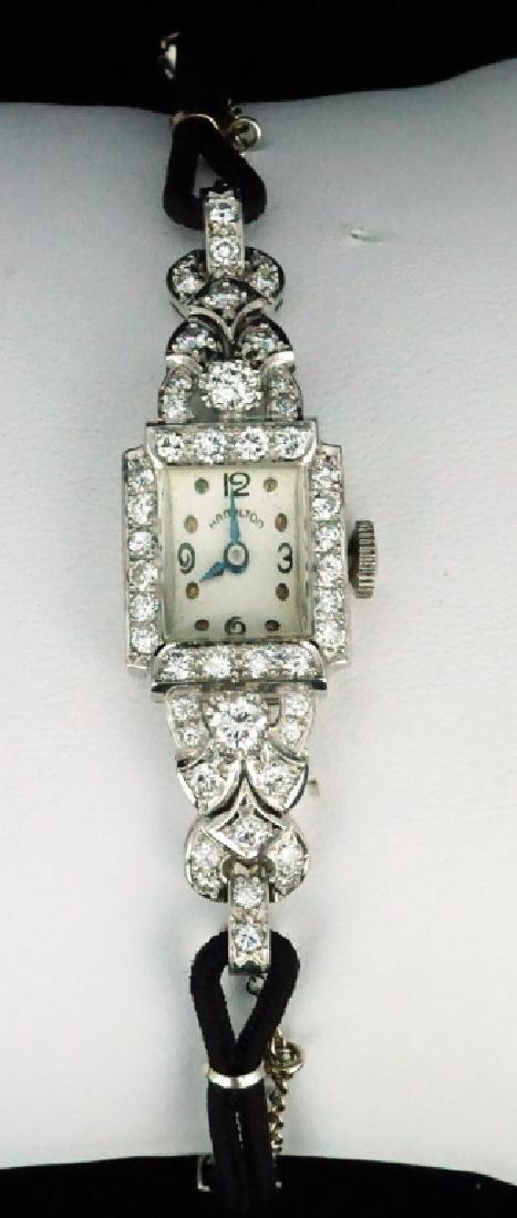 HAMILTON WOMEN'S DIAMOND & PLATINUM WRIST WATCH - 2