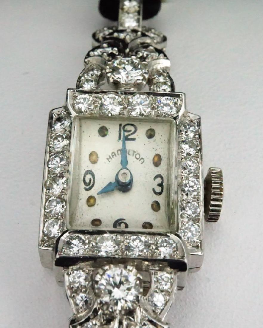 HAMILTON WOMEN'S DIAMOND & PLATINUM WRIST WATCH - 3