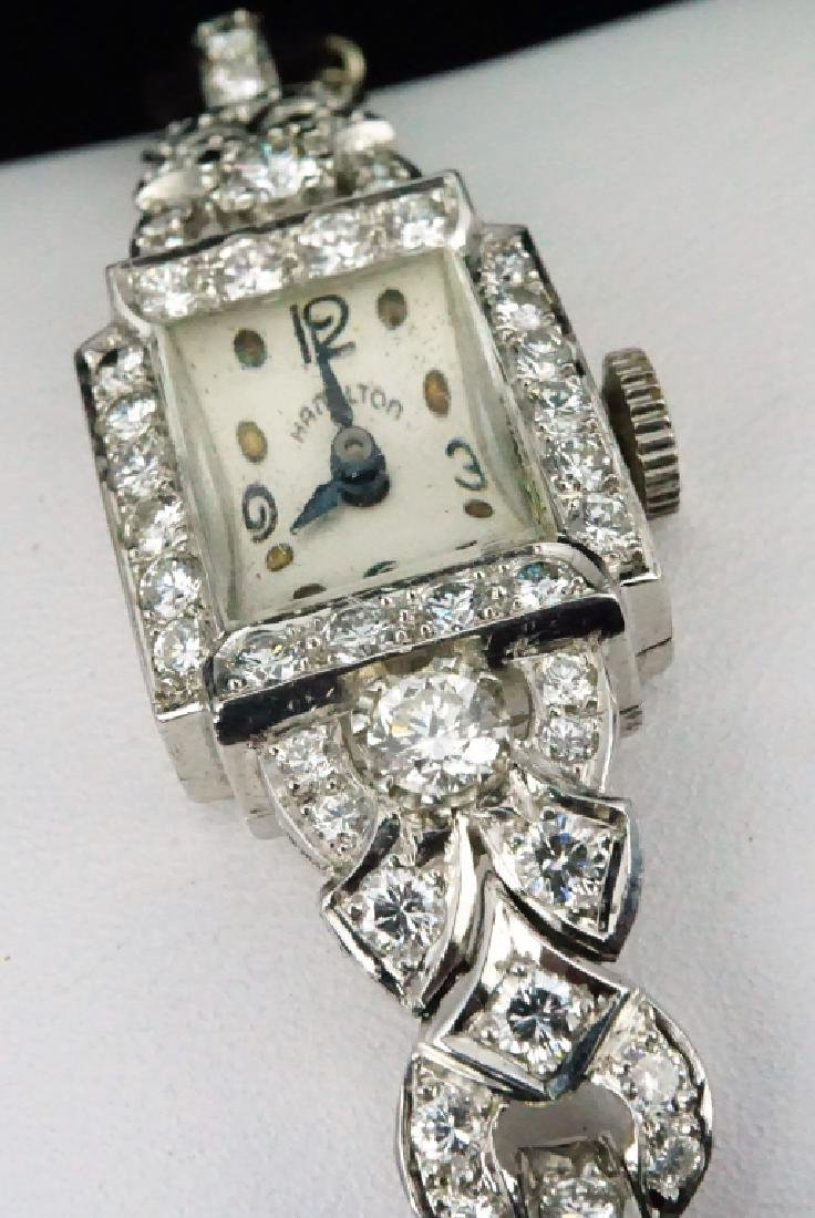 HAMILTON WOMEN'S DIAMOND & PLATINUM WRIST WATCH - 5