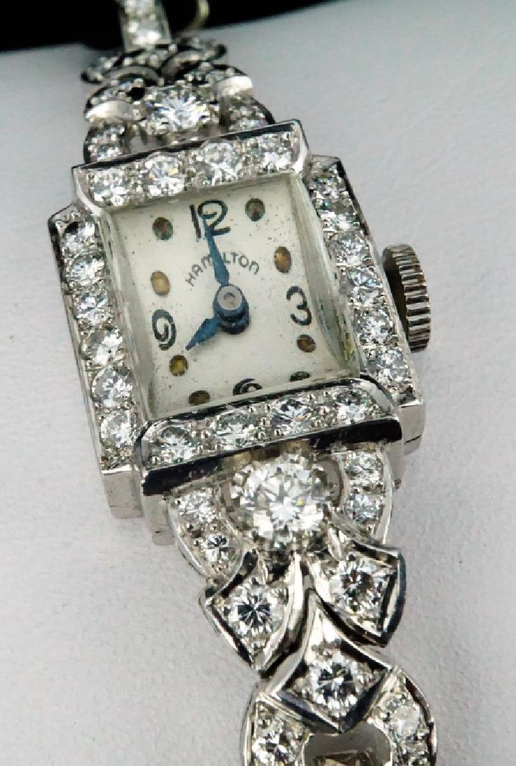 HAMILTON WOMEN'S DIAMOND & PLATINUM WRIST WATCH - 6