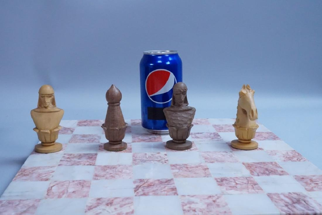 HAND CARVED CHESS SET WITH MARBLE BOARD - 10