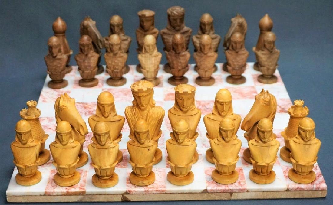 HAND CARVED CHESS SET WITH MARBLE BOARD
