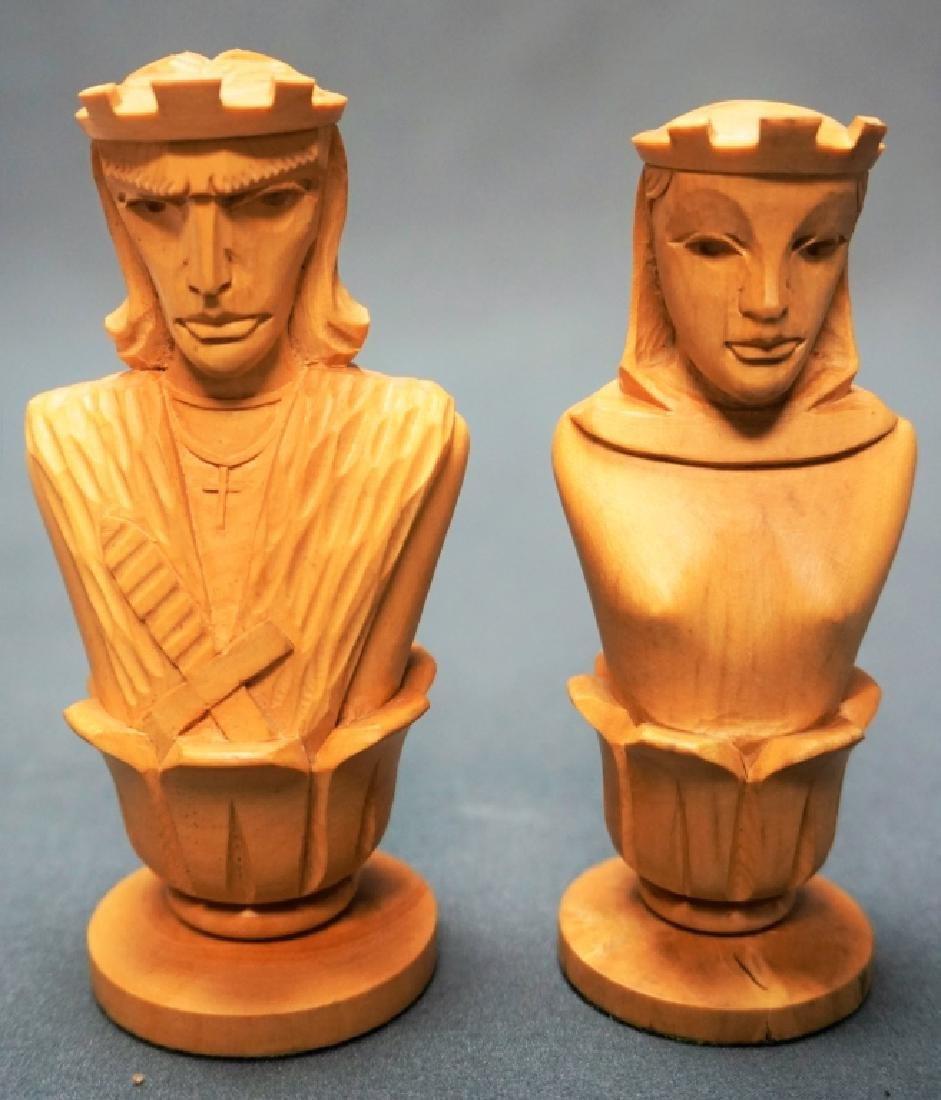 HAND CARVED CHESS SET WITH MARBLE BOARD - 2