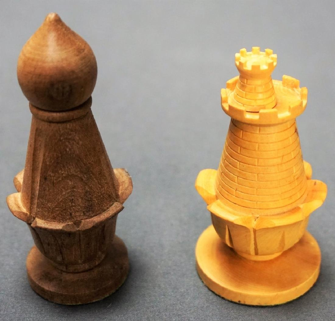 HAND CARVED CHESS SET WITH MARBLE BOARD - 5