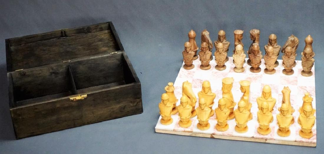 HAND CARVED CHESS SET WITH MARBLE BOARD - 8