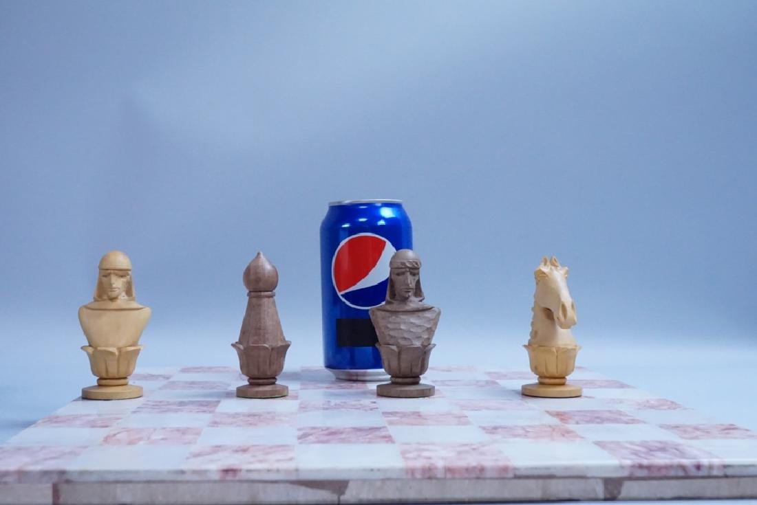 HAND CARVED CHESS SET WITH MARBLE BOARD - 9
