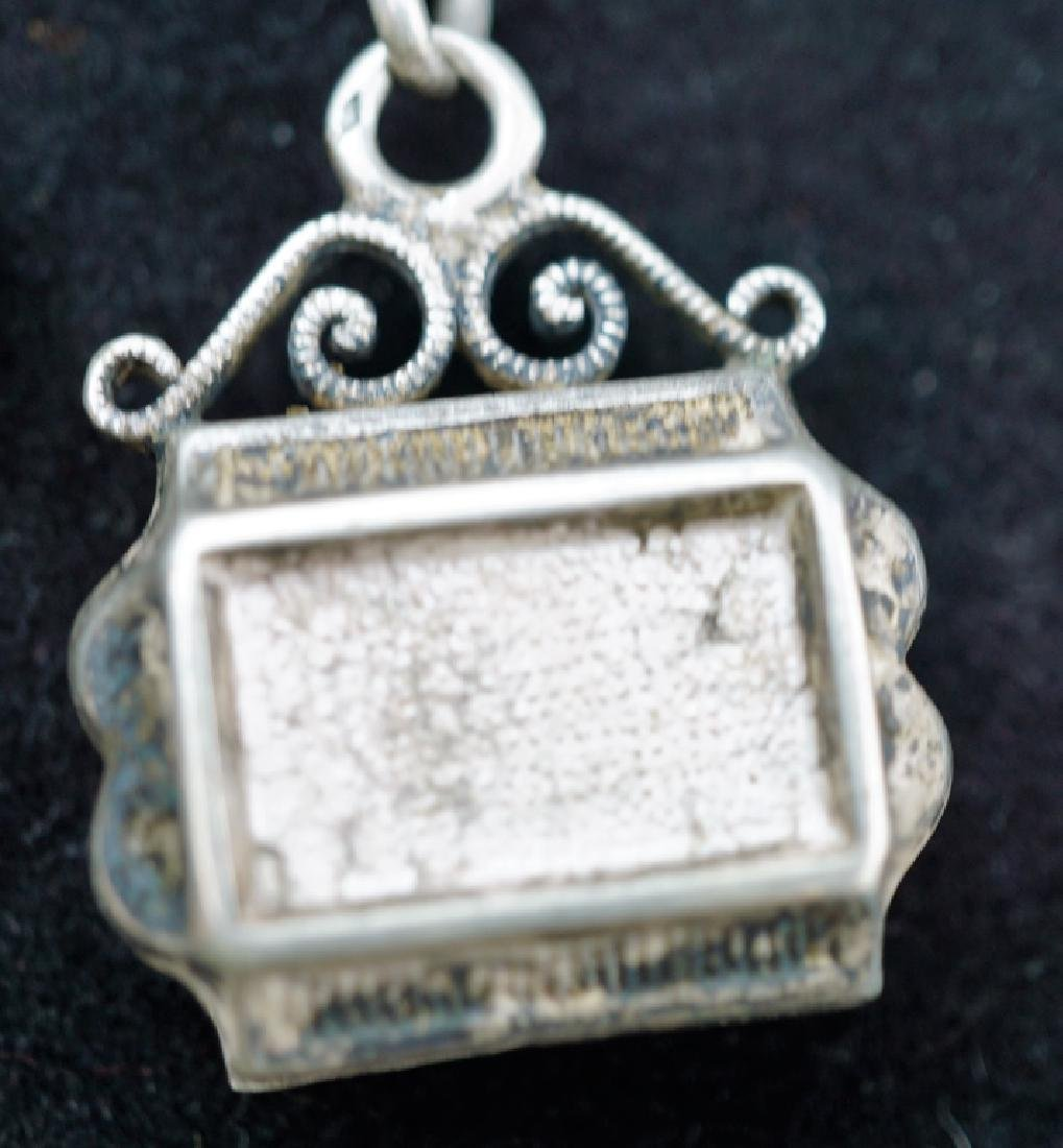 ANTIQUE VICTORIAN STERLING SILVER POCKET WATCH FOB - 3
