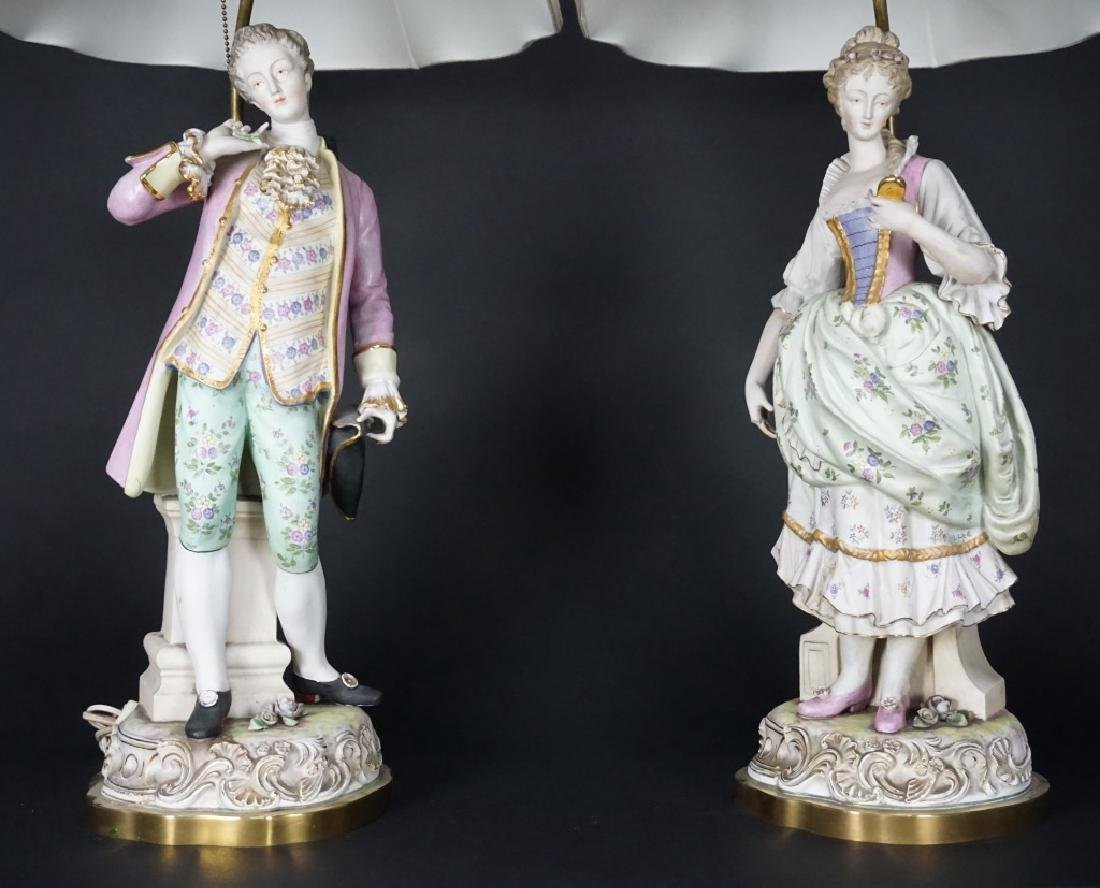 PAIR OF FRENCH FIGURAL PORCELAIN LAMPS - 2
