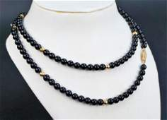 14K GOLD AND ONYX BEADED NECKLACE