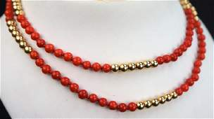 14K GOLD AND RED CORAL BEAD NECKLACE