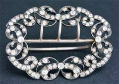 ANTIQUE FRENCH SILVER AND PASTE BUCKLE