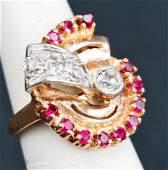 14K GOLD RETRO RUBY  DIAMOND RING