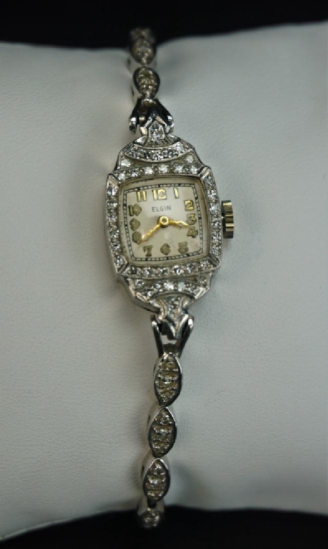 ELGIN PLATINUM 14K & DIAMOND LADIES WRIST WATCH