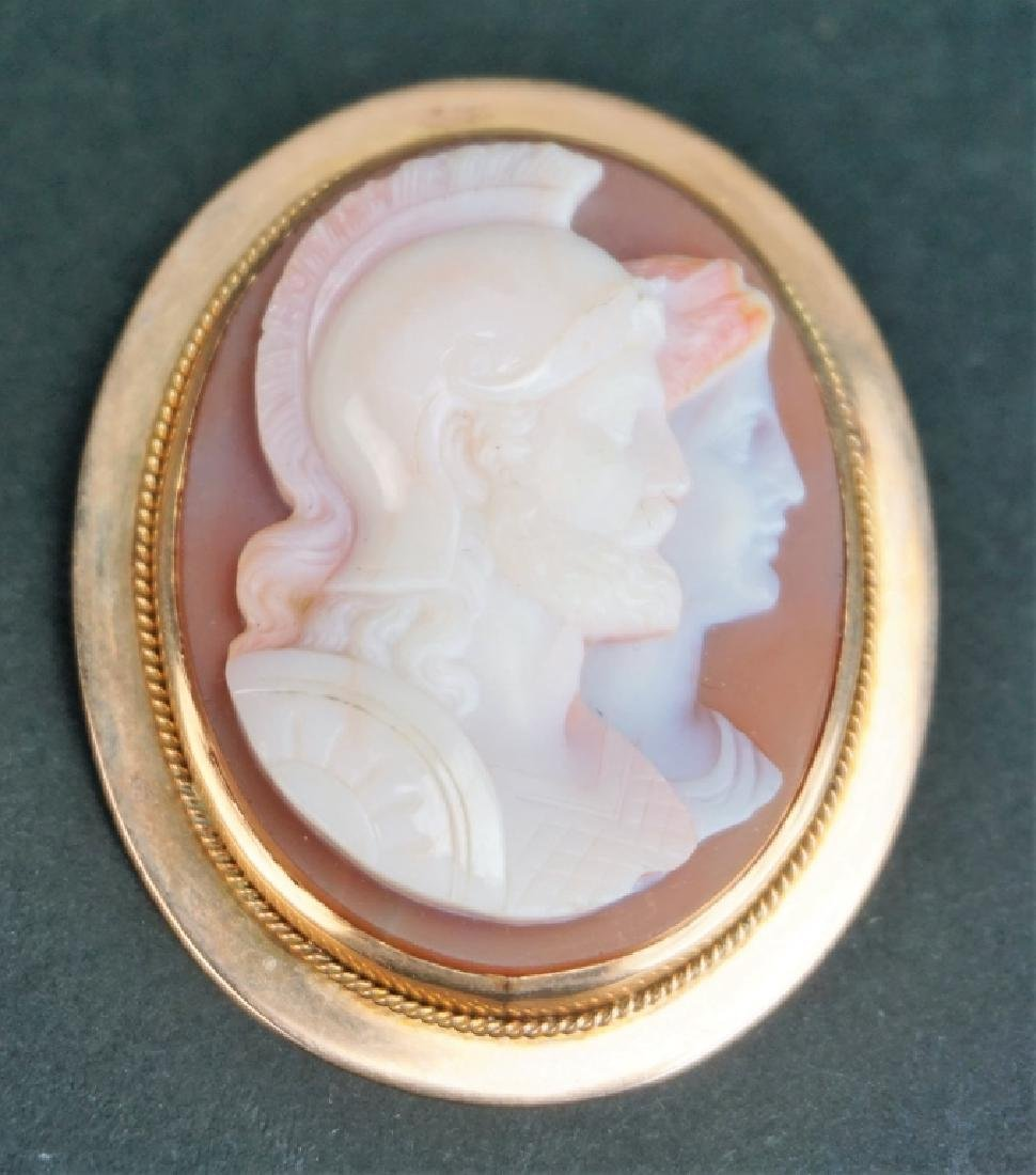 14K GOLD VICTORIAN 4-LAYER AGATE CAMEO