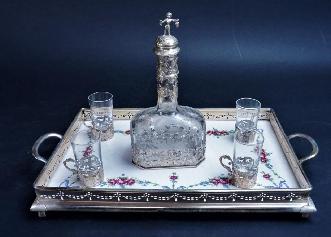 SILVER & PORCELAIN SERVING SET W/ITH DECANTER - 2