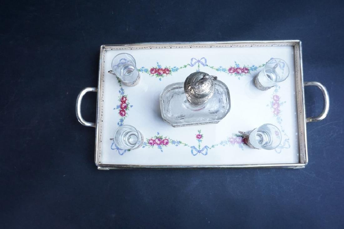 SILVER & PORCELAIN SERVING SET W/ITH DECANTER - 5