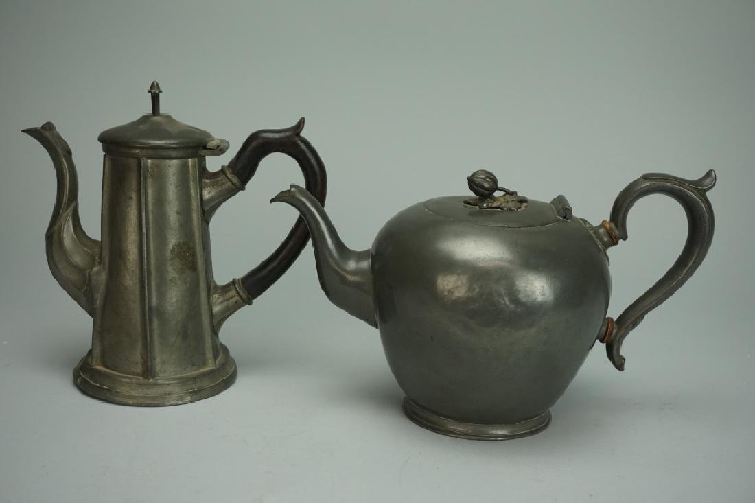 PAIR OF ANTIQUE PEWTER TEAPOTS