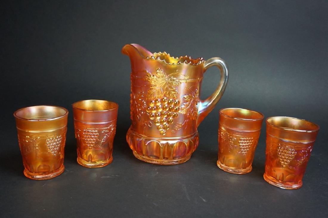 5pc CARNIVAL GLASS MARIGOLD GRAPE LEMONADE SET