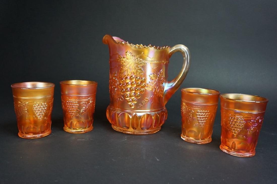 5pc CARNIVAL GLASS MARIGOLD GRAPE LEMONADE SET - 2