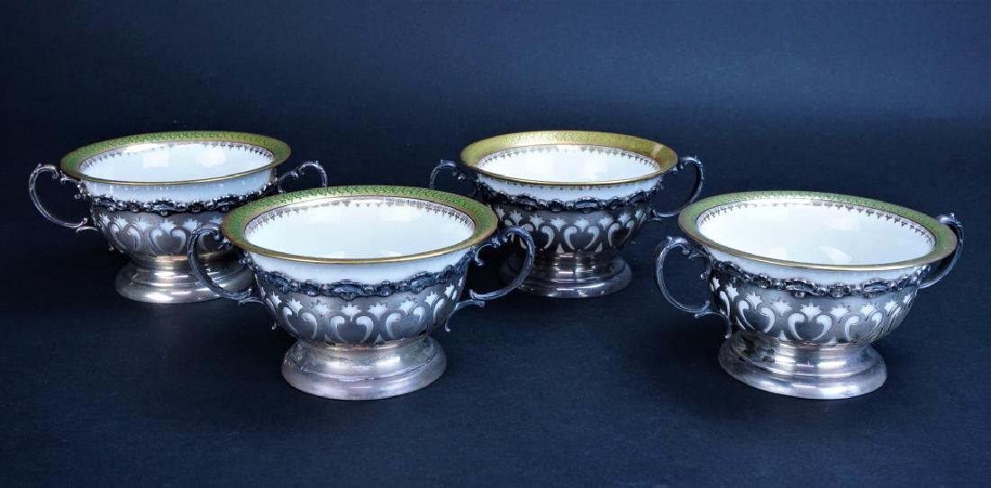 (4) LIMOGES BOUILLON BOWLS WITH STERLING HOLDERS