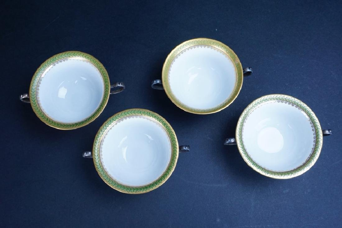 (4) LIMOGES BOUILLON BOWLS WITH STERLING HOLDERS - 2