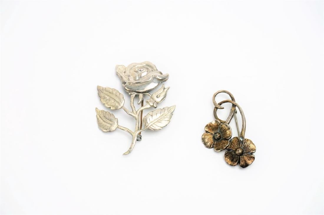 (2) STERLING SILVER FLORAL PINS
