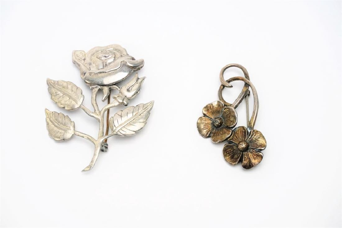 (2) STERLING SILVER FLORAL PINS - 2